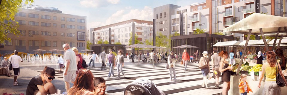 Illustration över Täby torg i Täby centrum